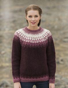 - Icelandic Særós (Rose of the Sea) Women Wool Sweater Purple - Tailor Made - Nordic Store Icelandic Wool Sweaters - 1 Fair Isle Knitting Patterns, Sweater Knitting Patterns, Knit Patterns, Icelandic Sweaters, Wool Sweaters, Knitting Wool, Hand Knitting, Wool Yarn, Tejido Fair Isle