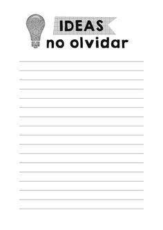 Imprimibles para organización. Listas de tareas, fechas importantes, ideas. Muchos más imprimibles gratis.