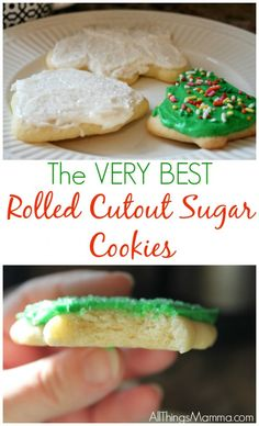 The Easiest Cutout Sugar Cookie Recipe - All Things Mamma The VERY BEST Rolled Cutout Sugar Cookies with THE PERFECT Buttercream Icing! You won't need anyone recipe after trying this one! Roll Out Sugar Cookies, Soft Sugar Cookie Recipe, Chewy Sugar Cookies, Christmas Sugar Cookies, Easy Cookie Recipes, Cookies Et Biscuits, Christmas Cookies Cutouts, Butter Cookie Cutout Recipe, Simple Sugar Cookies