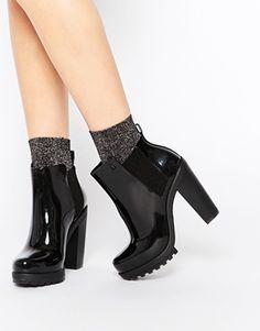 Melissa – Soldier – Schwarze Ankle Boots mit hohem Absatz