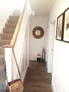 Stylish, bespoke staircase with oak handrail for hallway renovation. From Grey and bronze decor. Oak Handrail, Bespoke Staircases, Joinery, Stairs, Bronze, Stylish, Grey, House, Home Decor