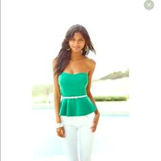 Green strapless peplum top with light cups It's from body central and never been worn Body Central Tops Blouses