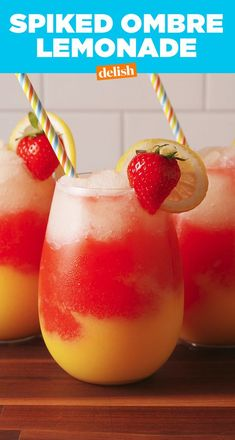 This Spiked Ombre Lemonade Is Perfect In. Every. Way.Delish Bar Drinks, Cold Drinks, Summer Drinks, Cocktail Drinks, Cocktails, Cocktail Recipes, Easy Alcoholic Drinks, Drinks Alcohol Recipes, Drink Recipes
