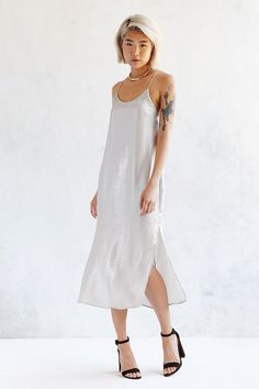 Silence + Noise Sadie Satin Midi Slip Dress - Dreamy NYE dress