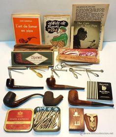 LOTE EL ARTE DE FUMAR EN PIPA. LIBROS, PIPAS, FILTROS, ESCOBILLAS, HERRAMIENTAS…