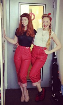 Yours Truly girls in our Red Pedal Pushers! http://www.freddiesofpinewood.co.uk/product/ladies/6-ladies-jeans/123-red-bluejeans-pedal-pushers
