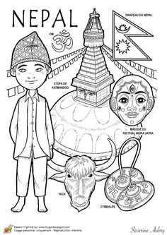 Nepal paper doll to color Colouring Pages, Adult Coloring Pages, Coloring Books, Paper Doll Costume, Paper Dolls, Costumes Around The World, World Geography, World Crafts, Travel Party