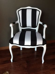 Painted gloss white & re-upholstered French style open arm chair. For before & after pictures look on my facebook page www.facebook.com/Jomarievintagefurniture