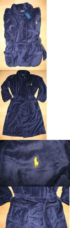 Sleepwear and Robes 11510: Nwt Ralph Lauren Polo Pony Men S Plush Bath Robe Navy Blue Yellow S M L Xl Xxl -> BUY IT NOW ONLY: $79.99 on eBay!