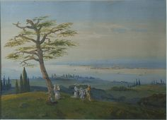 A painting by  Carlo Bossoli Italy, 19th Century