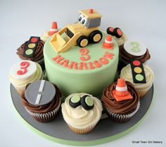 Digger cake and cupcakes by small town girl bakery, via Flickr
