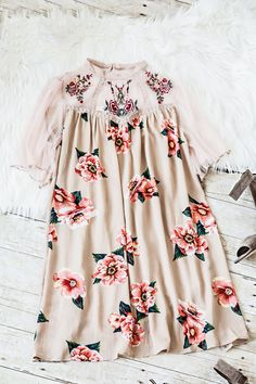 FLORAL PRINT MOCK NECK DRESS-TAUPE from laposhstyle