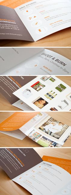 Brochure detail shots with a nice brown/orange color scheme