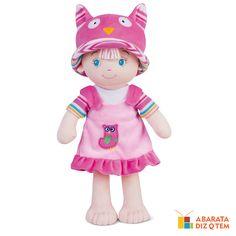 Bebê menina coruja - A Bebê Menina Coruja pode ser a primeira melhor amiga e confidente para as meninas de todas as idades. Com traços delicados e infantis, cheia de cor e gostosa de abraçar, traz de volta o ato saudável do brincar de boneca, bastante distante dos brinquedos industrializados.