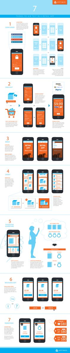 We created an infographic series giving you suggestions for A/B tests by app category. This one covers 7 things to test in your retail app. Mobile Application Design, Mobile Web Design, App Ui Design, Interface Design, Mobile Ui Patterns, Web Mockup, Applique, Mobile App Ui, Interactive Design