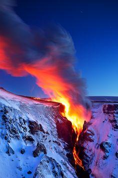 Lava Falls. (At Morinsheiði, the eruption in Fimmvörðuháls displayed a burst of energy, creating a beautiful fall of lava.) By Snorri Gunnarsson via Flickr