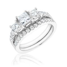 Certified Three-Stone Princess Diamond Bridal Set 2ctw - REEDS Jewelers