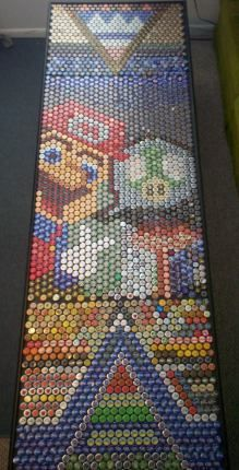 bottle caps under resin beer pong table... pretty amazing