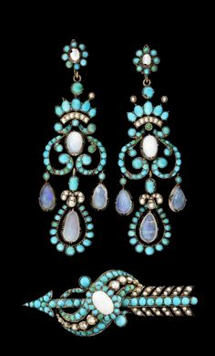 BROSCH O ÖRHÄNGEN, Brooch and earrings, silver gilt, with turquises, pearls and water opals. Ca 1860s