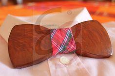 Papillon in legno di ulivo color ciliegio con nodo in tessuto scozzese
