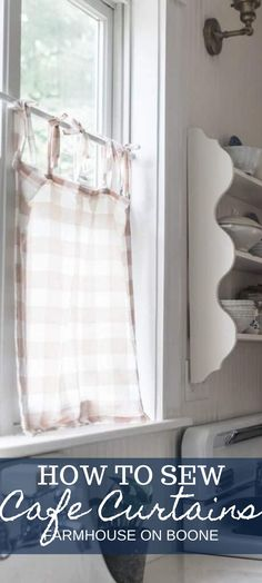Learn how to make DIY cafe curtains with this easy tutorial. Transform your window, giving it a little bit of privacy while also allowing the light through. Small Curtains, Cafe Curtains, Indian Home Interior, Indian Home Decor, Cute Home Decor, Cheap Home Decor, Farmhouse Style Decorating, Farmhouse Decor, Cheap Rustic Decor