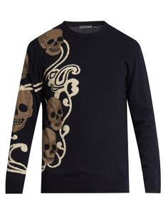 ALEXANDER MCQUEEN Skull-Intarsia Wool And Cashmere-Blend Sweater. #alexandermcqueen #cloth #sweater