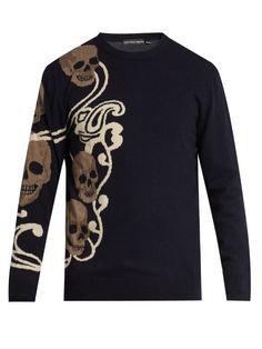 ALEXANDER MCQUEEN Skull-Intarsia Wool And Cashmere-Blend Sweater. #alexandermcqueen #cloth #sweater