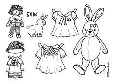 Karen`s Paper Dolls: Sille 1-3 Paper Doll to Colour. Sille 1-3 påklædningsdukke til at farvelægge.