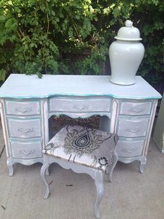French Vanity Desk Vintage Painted Gray by HarrisMarksHome on Etsy, $450.00