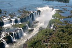 Iguassu Falls featuring Devil's Throat and some of the Brazilian side of the falls.  Iguazu Falls is one of the seven wonders of nature for South America.