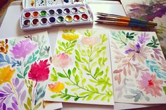 Gouache, Watercolor Paintings, Pastel, Hand Painted, Art Prints, Floral, Instagram Posts, Flowers, Projects