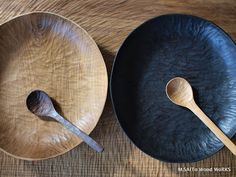 These plates bowls and cutlery are made by M Saito Wood Works in Japan, stunningly beautiful, practical. Made from wood scraps. Wooden Ladle, Ceramic Tableware, Kitchenware, Wood Scraps, Handmade Kitchens, Wood Spoon, Wood Bowls, Plates And Bowls, Wooden Kitchen