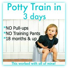 This potty training system will get your kids out of diapers in three days! :)