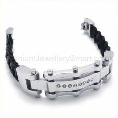 Cool Mens Inlay Diamond Titanium Bracelet 19563