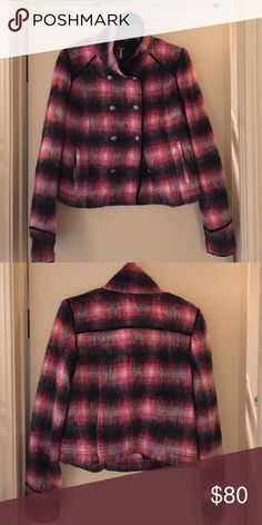 Wool jacket Wool, plaid, military jacket. Double buttons in the front. Worn maybe 2 times. Free People Jackets & Coats Pea Coats