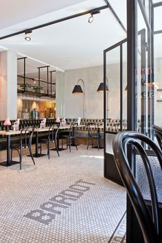 Brasserie Bardot Restaurant// Love the tufted seating and floor tiles// Restaurant Grill, Banquette Restaurant, Farmhouse Restaurant, Cozy Restaurant, Restaurant Seating, Restaurant Interior Design, Cafe Interior, Cafe Dominicano, Parisian Cafe