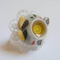 Lemon Tea and Chocolate Shortbread Miniature Food Ring - Miniature Food Jewelry