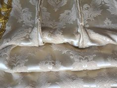 Satin Brocade Curtains Mint Condition Short with Fancy Trim