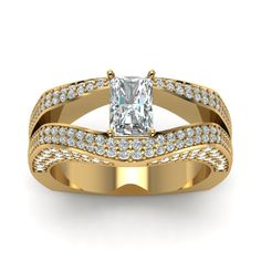 Radiant Cut Pave Set Euro Shank 1.5 Carat Engagement Ring with Diamonds in 14K Yellow Gold exclusively styled by Fascinating Diamonds