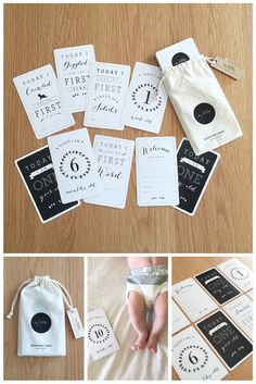 Blossom & Glow maternity. Baby Vine Milestone Cards Capture all those precious moments in your baby's life with these unique unisex baby milestone cards, from My Little.  Packaged in a cotton drawstring bag with beautiful wooden tag this set of 31 cards is perfect as a baby shower gift or just a gift to yourself! Stylish monochrome for either gender. $39.95AUD