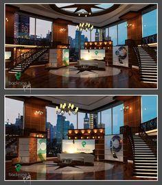 Back 9 Network by Kevin Vickers Tv Set Design, Stage Set Design, Tv Sets, Graduation Project, Studio Design, Tvs, Woodworking, Design Inspiration, Display