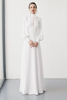 Vintage Wedding Gown I High neck Line I Long Sleeves I Crisp White Dress I Peek a Boo Collar Muslim Fashion, Modest Fashion, Fashion Dresses, Abaya Fashion, Elegant Dresses, Beautiful Dresses, Bridal Dresses, Prom Dresses, Dress Wedding