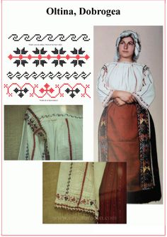 Oltina Blouse Patterns, Sewing Patterns, Nail Tattoo, Romania, Handicraft, Embroidery, Traditional, Tattoos, How To Make