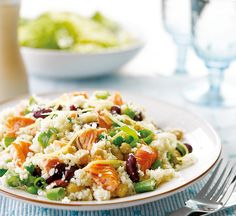 Salmon and pea cous cous