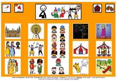 Tablero de comunicación aumentativa con pictogramas de ARASAAC sobre las Fiestas del Pilar de Zaragoza.