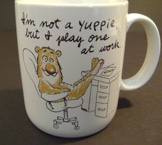 "SHOEBOX GREETING HALLMARK 1988 ""YUPPIE, PLAY AT WORK""  COFFEE MUG CUP MINT!"