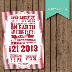 Circus Invite- Carnival Invite- Vintage Typography Style Circus Birthday Invite - Carnival Birthday Invite- DIY Printable Circus Invite