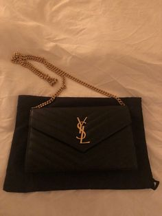 a0af9287048b Saint Laurent Matelasse Monogram YSL Wallet on Chain Black 1650   fashion   clothing