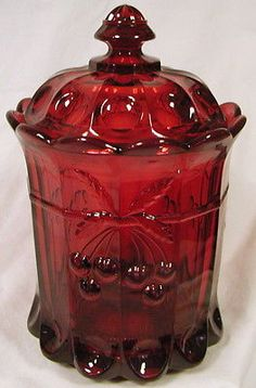 *COOKIE JAR ~ Ruby Glass Cherry & Cable Pattern Covered