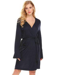 cdcf93e9d6 Navy blue Women Comfort Kimono Bathrobe Bath Robes For Women